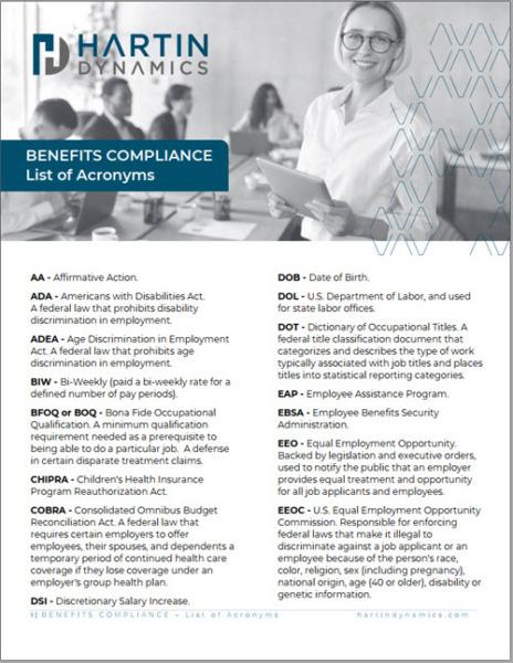Employee Benefits Compliance List of Acronyms